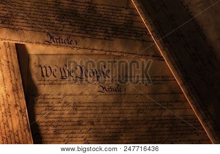 Pages Of The United States Constitution Showing We The People Heading