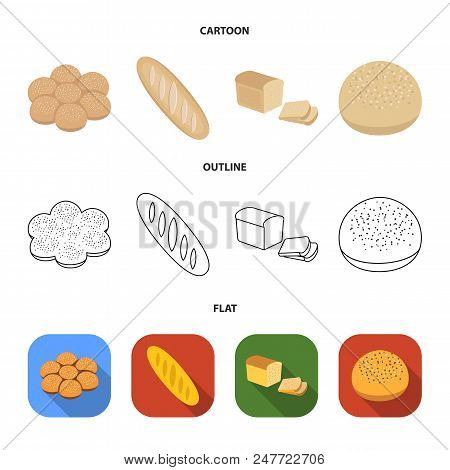 Cut Loaf, Bread Roll With Powder, Half Of Bread, Baking.bread Set Collection Icons In Cartoon, Outli