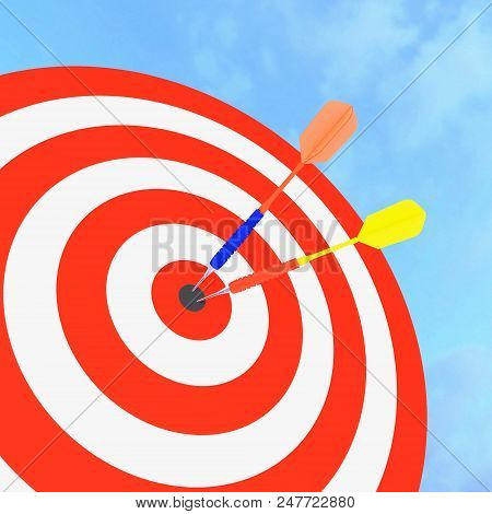 3d Red ,yellow,blue Dart Hitting The Target For Business
