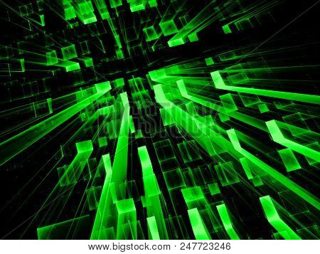 Green Technology Background - Abstract Computer-generated Image. Digital Art: Tunnel, Portal Or Well