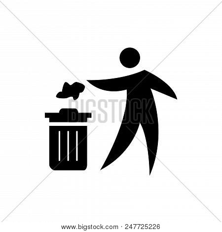 Person Throwing Paper Vector Icon Flat Style Illustration For Web, Mobile, Logo, Application And Gra