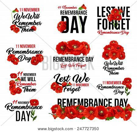Remembrance Day Poppy Flower Icon. Memorial Day Floral Symbol Of Red Poppy Flower Wreath With Lest W
