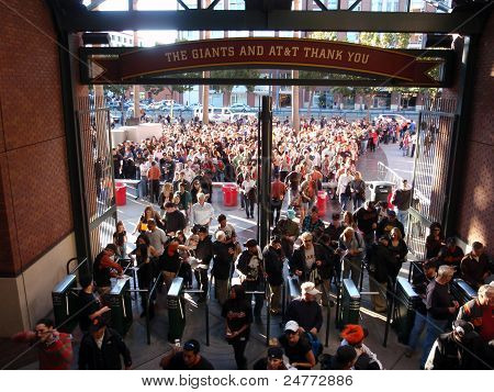 Crowd Of People Entering At&t Park