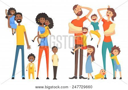 Young Afro-american And Caucasian Family. Cheerful And Tired Parents With Children. Funny Little Kid