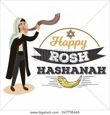 Man Blowing Shofar Horn For The Jewish New Year Holiday, Rosh Hashanah Holiday, Judaism Religion Vec