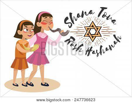 Girls Blowing Shofar Horn For The Jewish New Year Holiday, Rosh Hashanah Holiday, Judaism Religion V