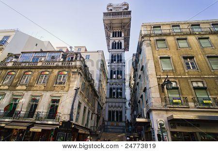 Santa Justa Elevator In Lisbon, Portugal.