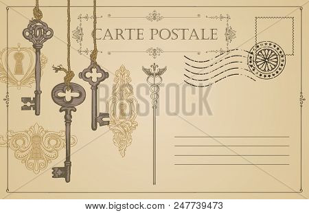 Retro Vector Postcard With Old Keys And Keyholes, With Place For Text On Beige Background In Vintage