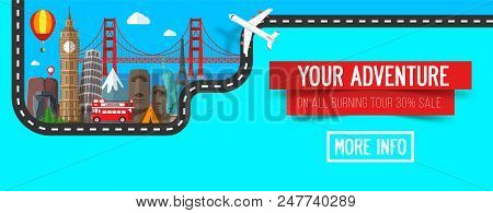 Travel And Tourism Banner. Colorful Travel Composition With Famous Landmarks.. Road Trip. Journey. A