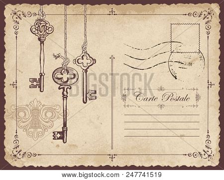 Retro Vector Postcard With Old Keys And Keyhole, With Place For Text On Old Beige Background In Vint