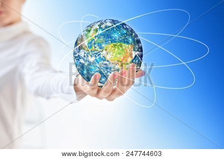 Earth from Space in hands, globe in hands Best Internet Concept of global business from concepts series. Elements of this image furnished by NASA. 3D illustration.