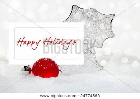 Silver And Red Christmas Ornament With Happy Holiday Text Greeting On White Card