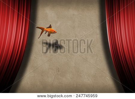 Surreal stage with golden fish. Symbolism. 3D rendering