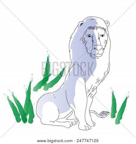 Sitting Lion.  Illustration Of Sitting African  Big Lion, Wildlife Concept.