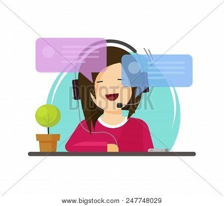 Girl Chatting Vector Illustration, Flat Cartoon Woman Character With Headphones With Chat Bubbles Sp