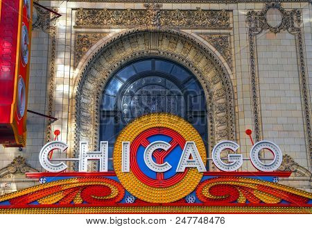 Chicago, Illinois, Usa - June 22, 2018: The Landmark Chicago Theatre On State Street. The Historic T