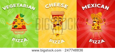 Set Of Flyers Or Brochure With Different Pizza. Vegetarian Pizza. Vegan. Cheese Pizza. Mexican Pizza