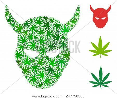 Daemon Head Composition Of Weed Leaves In Various Sizes And Green Hues. Vector Flat Weed Elements Ar