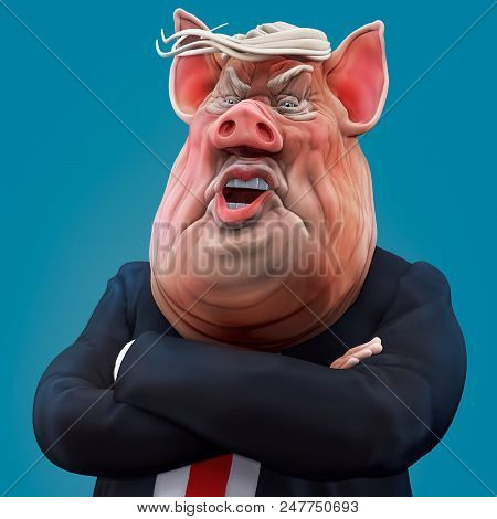 Pig Boss Talks With Arms Crossed. 3d Rendering
