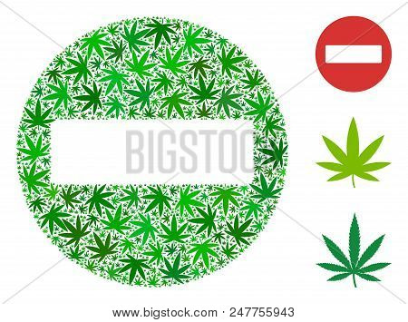 Forbidden Access Composition Of Marijuana Leaves In Various Sizes And Green Hues. Vector Flat Mariju