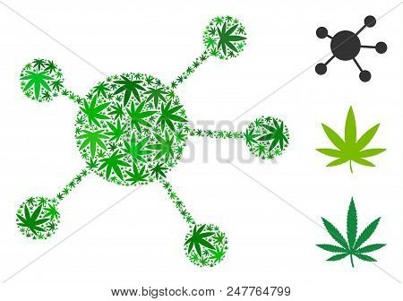 Network Links Collage Of Cannabis Leaves In Different Sizes And Green Hues. Vector Flat Hemp Items A