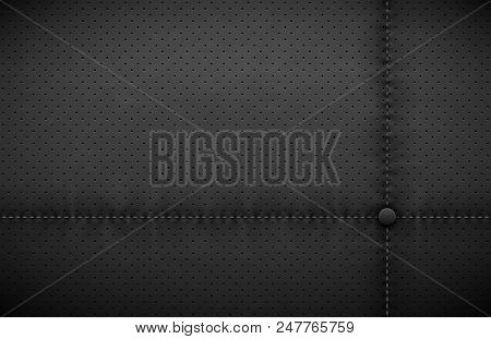 Vector Dark Gray Perforated Leather Texture Wallpaper. Realistic Charcoal Perforated Background. Bla