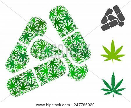 Pills composition of hemp leaves in variable sizes and green tones. Vector flat hemp leaves are composed into pills mosaic. Addiction vector design concept. poster