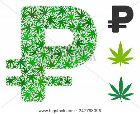 Rouble composition of hemp leaves in different sizes and green tinges. Vector flat hemp objects are grouped into rouble illustration. Drugs vector illustration. poster