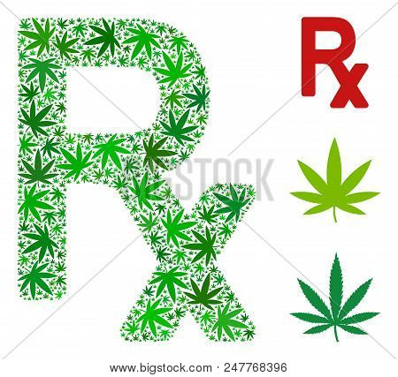 Rx Symbol Mosaic Of Cannabis Leaves In Different Sizes And Green Shades. Vector Flat Cannabis Symbol