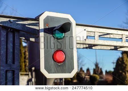 Traffic Light Shows Green Signal On Railway