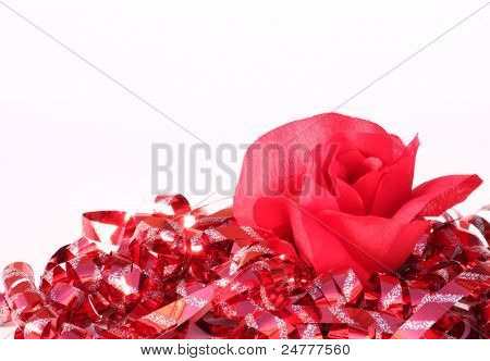Single Red Rose With Red Ribbon