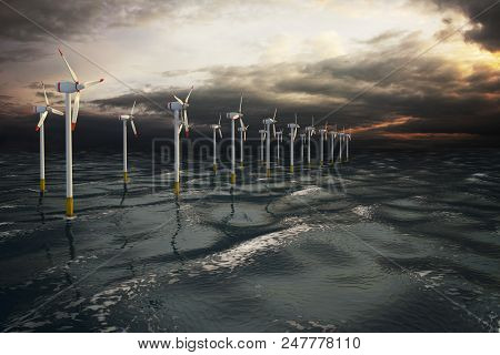Wind Turbines Generating Electricity On The Ocean. Eco Power, Storm Water. 3d Render Illustration.