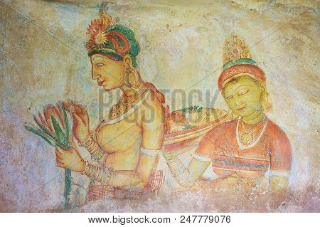 Sigiriya, Sri Lanka - May 20, 2011: Exterior Of The Ancient Paintings At Sigiriya Rock In Sigiriya,