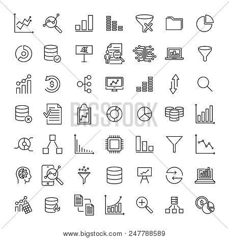 Simple Collection Of Analysis Related Line Icons. Thin Line Vector Set Of Signs For Infographic, Log