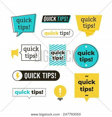 Advice, Tip, Quick Tips, Helpful Tricks And Suggestions Vector Logos, Emblems And Banners Vector Set