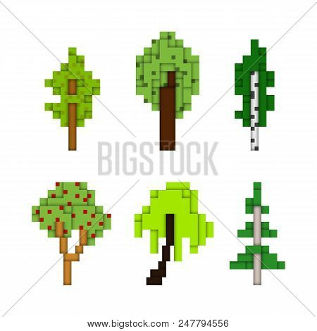 Various Pixel Art Trees Isolated On White, Low Pixel 8-bit Style Forest Tree Illustrations, Construc