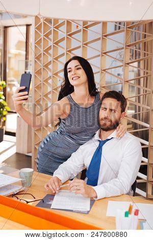 My Lust. Lustful Beautiful Woman Seducing Her Boss While Taking A Selfie