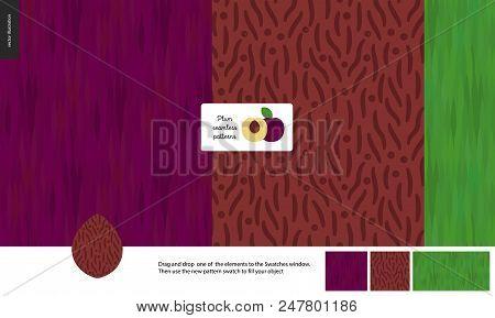 Food Patterns, Summer - Fruit, Plum Texture, Half Of Plum Image In Center - Three Seamless Patterns