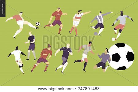 European Football, Soccer Players Set - Flat Vector Illustration Of A Young Men Wearing European Foo