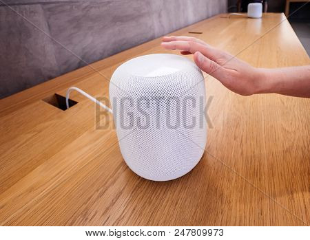 Paris, France - Jun 30, 2018: Woman Ttouching In Apple Store The Latest Apple Computers Homepod Smar