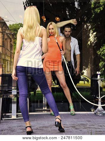 Amorousness. Addiction, Bad Habits. Woman Sensual With Hookah Pipe In Bar. Friends Man And Girls At
