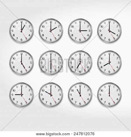 Office Wall Clocks Showing The Times Of Day. Round Quartz Analog Wall Clock. Minimalistic Modern Off