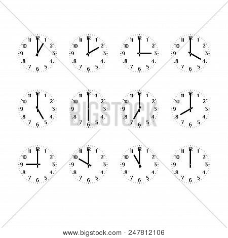 Clock Icon Set Showing The Times Of Day. Clock Face, Hour And Minute Hands. Arabic Numerals. Black A