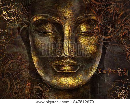 Buddha - Digital Art Collage Combined With Watercolor. Mantra In Sanskrit - Om Mani Padme Hum. An Un