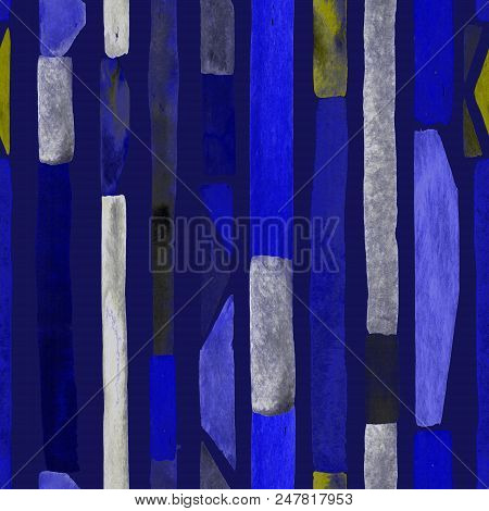 Bauhaus pattern. Indigo blue geometric watercolor abstract seamless print. Watercolour stripe background. Kaleidoscope lines.  Contemporary art illustration. Bauhaus graphic design. Trendy texture poster
