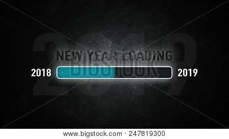 Loading Bar 2018/2019: New Year Loading On A Dark Background