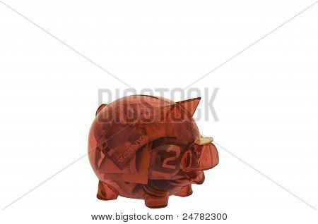 Clear Pink Piggy Bank