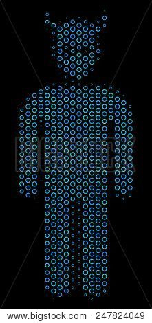 Halftone Daemon Collage Icon Of Empty Circles In Blue Color Tints On A Black Background. Vector Empt