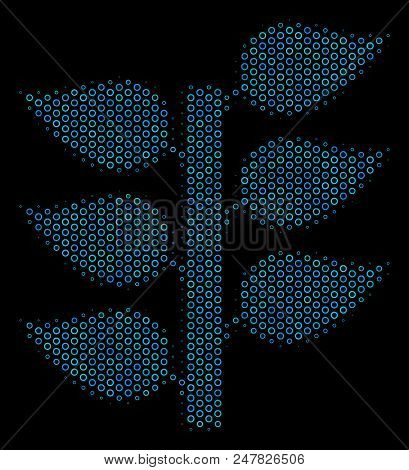 Halftone Flora Plant Mosaic Icon Of Empty Circles In Blue Color Tones On A Black Background. Vector