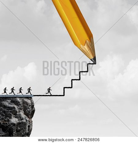 Opportunity Success Action Help Concept As A Pencil Drawing Stairs For Helping Business People Or Mo